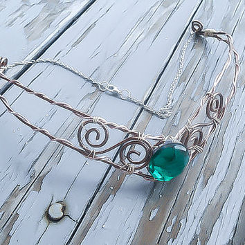 Elven Necklace - Emerald Choker - Fantasy Necklace - Cosplay Necklace - Costume Necklace - Elvish Jewelry - Wedding Necklace