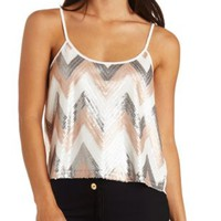 Chevron Sequin Swing Tank Top by Charlotte Russe - Ivory Combo