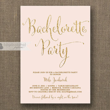 Blush Pink & Gold Bachelorette Party Invitation Gold Glitter Modern Script Bridal Wedding Hens Party Lingerie DIY Printable or Printed- Mila