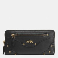 RIVETS ACCORDION ZIP AROUND WALLET IN LEATHER
