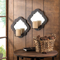 Damask Mirrored Wall Candle Sconces