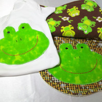 Appliqued Frog Gift Set - Baby Bib - Terry Burp Cloth - Appliqued Baby Bodysuit