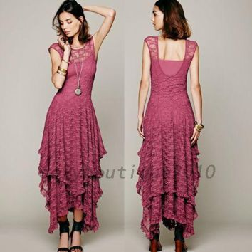 Wedding Bridesmaid Formal Banquet Evening Gown Prom Party Lace Maxi Dress US