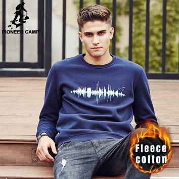 Pioneer Camp thick warm hoodies men brand clothing quality 2016 New Autumn winter male fashion casual fleece sweatshirt for men