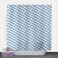 Blue Gingham Shower Curtain - Pattern White Blue Gingham - 71x74 - PVC liner optional - Made to Order