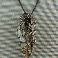 Bronze Crochet Wire Wrapped Fossilized Sharks Tooth Necklace