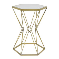 Enticing Metal Accent Table With Mirror