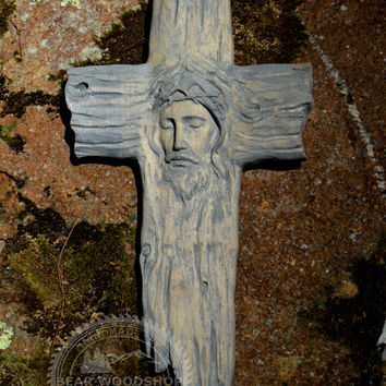 "Grey Wood Cross Christian Wall Art  14"" x 8"" - Religious Gifts for Christmas"