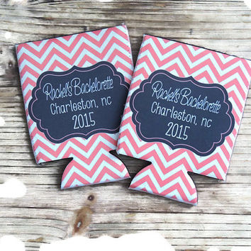 party hugger,  personalized hugger, monogrammed hugger, beer can hugger, bachelorette party favor, wedding party favor, stocking stuffer