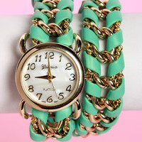 Clock Hop Mint Green Wraparound Watch