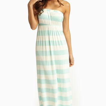 Mint White Striped Strapless Maxi Dress