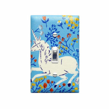 Unicorn Light Switch Plate Cover / Girls Room Bedroom Bathroom Nursery Decor / Heather Ross Far Far Away Unicorn Blue