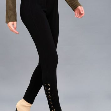 Lorien Black Lace-Up Jogger Pants