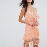 ASOS Fringe Mesh Strappy Mini Bodycon Dress at asos.com