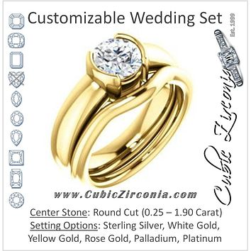 CZ Wedding Set, featuring The Charlotte engagement ring (Customizable Bezel-set Round Cut Solitaire with Thick Band)
