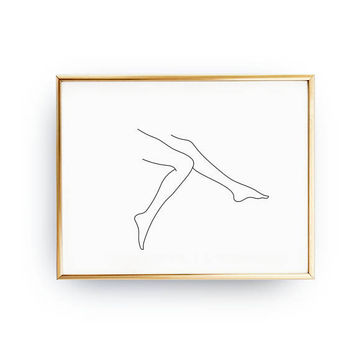 Female Legs Print, Woman Figure Print, Single Line Art, Minimal Art, Female Poster, Female Body, Black And White, Linear Drawing, Woman Art