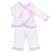 Sterling Baby 2-Piece Ruffle Trim Kimono and Pant Set in White/Pink