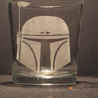 "Star Wars Boba Fett helmet inspired whiskey glass Engraved/Etched Glass ""PICK YOUR STYLE"""