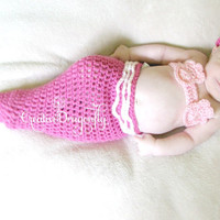 On Sale, Pink Mermaid Costume, Crocheted Baby Mermaid Photo Prop, 0-3 Month Baby Girl Cocoon