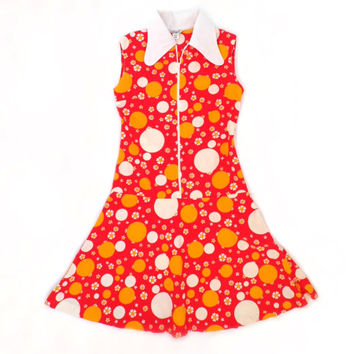 Girls 70s floral dress Orange polka dots dress Vintage dress Resort dress 80s girls retro dress Germany