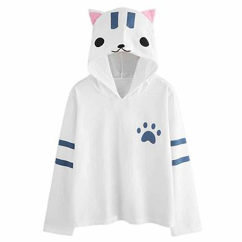 Women's Hooded sweater Hoody Tops Womens Cat Ear Cute Hoodie Hoodie Sweatshirt Hooded Pullover Tops Blouse Skateboarding Hoodies