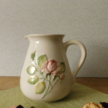 Ivory Ceramic Pitcher withEmbossed Rose, Made in Portugal