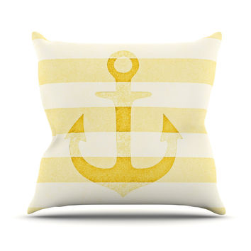 "Monika Strigel ""Stone Vintage Anchor Yellow"" Mustard White Outdoor Throw Pillow"