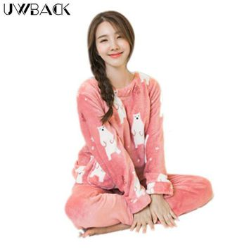 DCCKU62 Uwback 2017 Winter Brand Flannel Pajamas Sets Women Cute Sleepwear Female Coral Fleece Nightwear Mujer Animal Character OB270