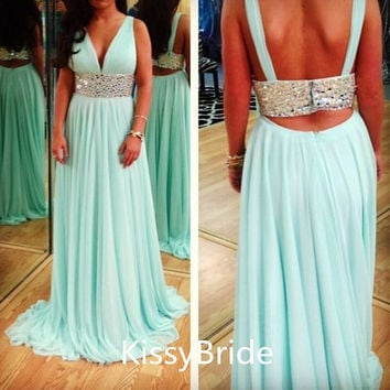 2014 backless v-neck sexy beading waist chiffon dress/ evening dress/ prom dress/ Party dress