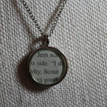 To Kill a Mockingbird book page resin necklace - Jem and Scout