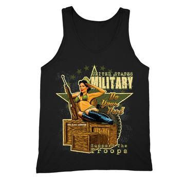 XtraFly Apparel Men's Military Support the Troops 2nd Amendment Tank-Top