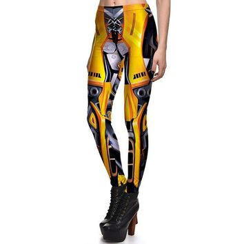 ONETOW New 3831 Sexy Girl Mecha Iron Man Golden Camera Cosplay Printed Elastic Fitness Polyester Workout Women Leggings Pants Plus Size