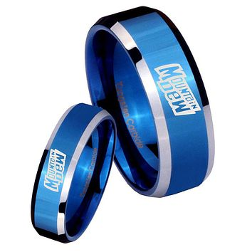 His Hers Mountain Dew Beveled Edges Blue 2 Tone Tungsten Custom Ring for Men Set