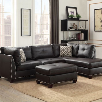 Acme 54405 3 pc Laurissa ebony faux leather fabric sectional sofa and ottoman