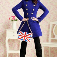 OASAP - Double Breasted Standing Collar Military Coat - Street Fashion Store