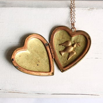 Heart Bird Locket... Vintage Brass Dove Love Letter Big Old Plain Locket