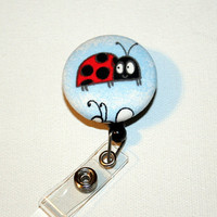 Retractable ID Badge Holder Reel - Fabric Button - Lady Bug