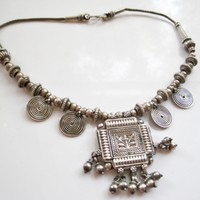 Vintage Indian Silver Amulet Choker Necklace from Rajasthan