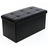 SONGMICS Faux Leather Folding Storage Ottoman Bench Foot Rest Stool Coffee Table, Black ULSF105