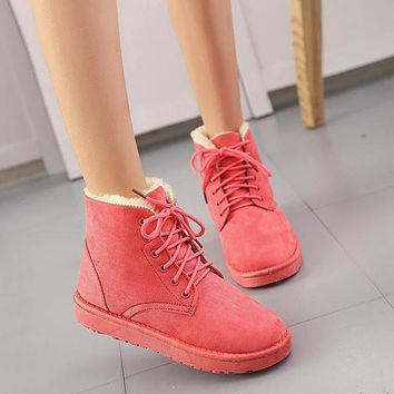 Trendy New Warm Winter Boots Ankle Boots Waterproof Snow Boots Female Shoes Suede