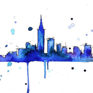 Watercolor Travel Illustration Midnight in by JessicaIllustration