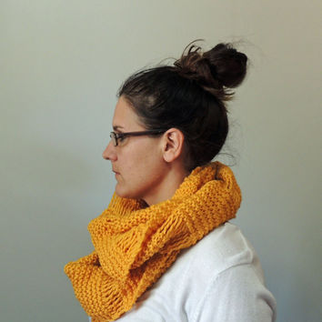 Mustard Yellow Hand Knit Oversized Cowl Scarf
