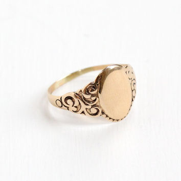 Antique Art Nouveau 10k Rose Gold Blank Signet Ring - Vintage Size 6 3/4 Swirl Etched Initial Monogram Personalize Edwardian Jewelry