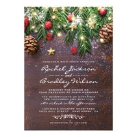 Rustic Country Christmas Holiday Winter Wedding Card