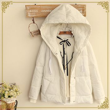 Fashion students hooded cotton coat