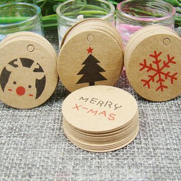 Multi styles DIY  jewelry label tag merry christmas gift packing tag cookies/handmade favors products note tag 3cm size 100pcs