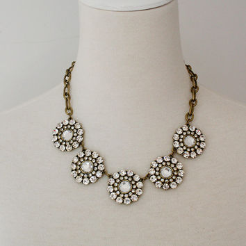 Clear Jewel Circular Bubble Acrylic Collar Crystal Statement Necklace / Anthropologie Necklace / Chunky Bib Statement / Jcrew Necklace