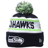 Mens Seattle Seahawks New Era College Navy Biggest Fan Redux Knit Beanie