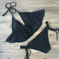 Hot Swimsuit New Arrival Summer Beach Sexy Swimwear Ruffle Backless Bikini [10603726159]