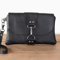 Black Leather Wristlet Wallet - Leather Pouch Bag - Minimalist Leather Clutch - Wrist Bag - Wristlet Clutch  - Small Bag - Zipper Pouch